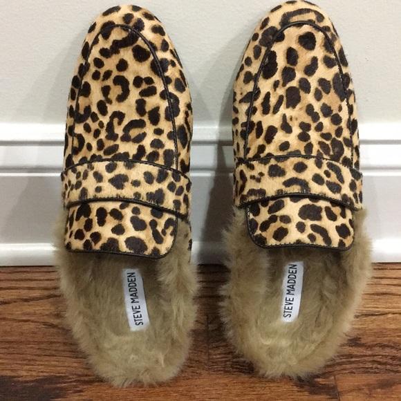 Steve Madden Leopard Fur Mules